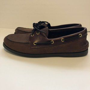 Sperry Top Sider 12W Leather Brown Slip On Loafers